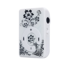New Arrivals Mini Clip Flower Pattern MP3 Player Music Media Support Micro SD TF Card+Cable  Free Shipping&Wholesales NOA28