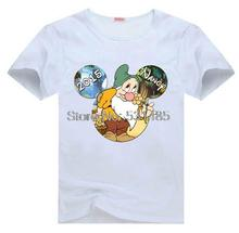 Snow White and the 7 Dwarfs Bashful Personalized Mouse Head shirts for kids children boy girl cartoon t-shirt(China)