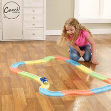 240 Pcs Kid Colorful Plastic Race Track LED Car Children Assembly Toy Bend Flex Glow Rails Racing DIY Puzzle Roller Coaster Toys(China)