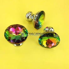 30mm K9 Crystal Cabinet Drawer Knobs Glass Furniture Cabinet Pulls Colorful Crystal Dresser Handles Closet Knob Shoes Box Pull