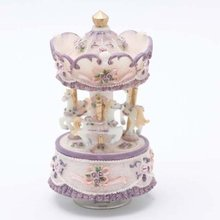 Free Shipping Laxury 3-horse Carousel Music Box Purple&Yellow&white Shade Play The Castle in the Sky