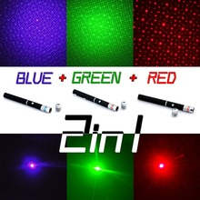Super Powerful Laser Pointer Pen 2in1 Puntero Laser 5mw Powerful Caneta Laser Green/Red/Blue Violet Lazer Verde With Star Cap(China)