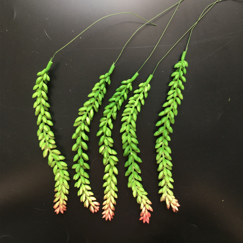 INDIGO- 5pcs Wheat Artificial Succulent Plant Plastic Flower Green Plant Decoration Branches Greenery Free Shipping(China)