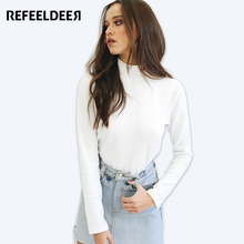 Refeeldeer Half Turtleneck T Shirt Women Long Sleeve T-shirt Female Heart Embroidery White Tshirt Women Tops Tee Shirt Femme(China)