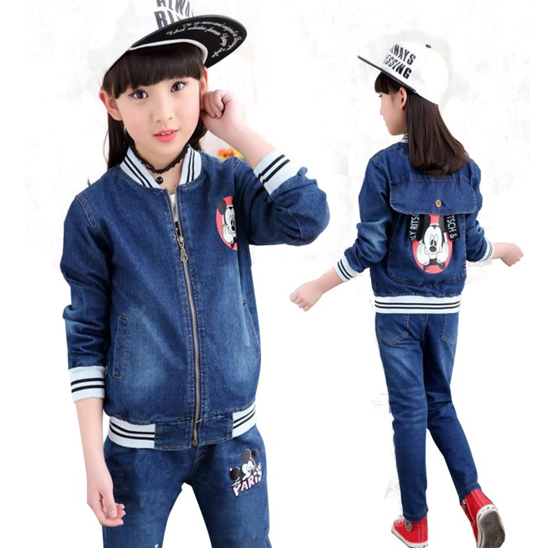 Girls Clothes 8 10 12 Years Autumn Teens Girls Sets Clothing Spring Cartoon Kids Denim Jacket+Jeans+Long Sleeve T shirt 3 Pieces<br>