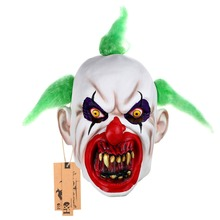 Scary Clown Mask Green Hair Buck teeth Full Face Horror Masquerade Adult Ghost Party Mask Halloween Props Costumes Fancy Dress(China)
