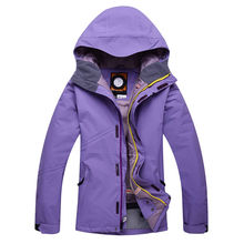 Women Cheap Snow Jacket Ski Snowboard Clothing -30 Warm Coat Ski suit Jackets outdoor sports custome Red purple rose pure color