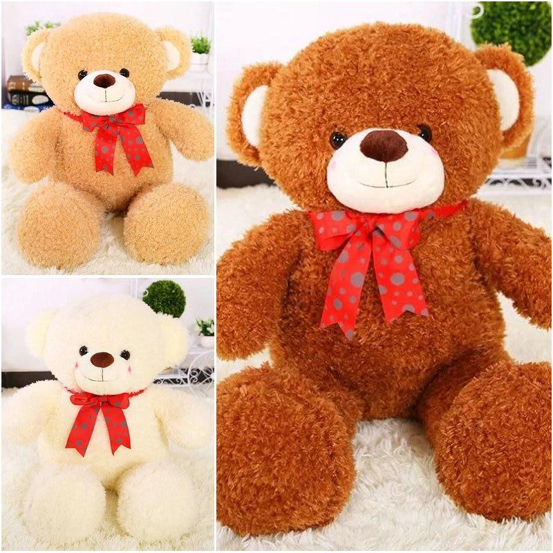 80cm 2017 New Style Stuffed plush Bear Cloth Doll Teddy bear Bowtie Sleep Pillow Cushion Animals Doll kids gift<br>