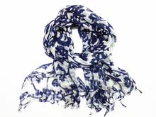 2015 mew wool scarf fashion women hollow out  blue and white long wool scarf blue and white size:200x100