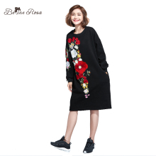BelineRosa Women's Fashion Winter Dresses Flower Embroidery Black Dress Casual Fleece Lining Plus Size Women Clothes TYW00650(China)
