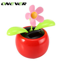 Onever Happy Dancing Solar Flower Dacing Solar Flower Car styling Car Decoration Moved Solar Energy Car Ornaments accessories(China)