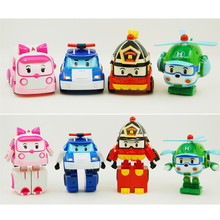 4pcs/Set Robocar Poli Toy Korea Robot Car Transformation Toys Poli Robocar Toys Without Box Best Gifts For Kids