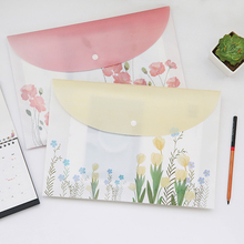 A4 Chinese wind flower Frosted plastic file bag necessary portfolio office stationery(China)