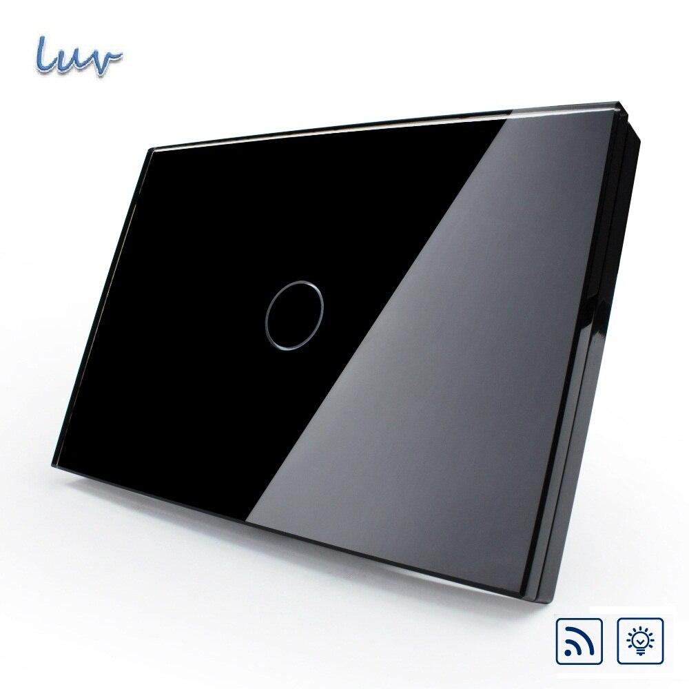 Smart Home Remote Switch, Black Crystal Glass Panel, Wall Light Remote Dimmer Switch, US&amp;AU Standard, VL-C301DR-82 for Led Light<br>