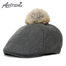 [JAMONT] 2017 New Winter Kids Berets Pompom Warm with Top Ball Newsboy Caps Girls Berets Z-6038()