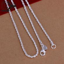New Design!!Wholesale Silver Plated Necklace & Pendant,Fashion Jewelry Accessories,2M 16-24'' Shine Twisted Rope Necklaces