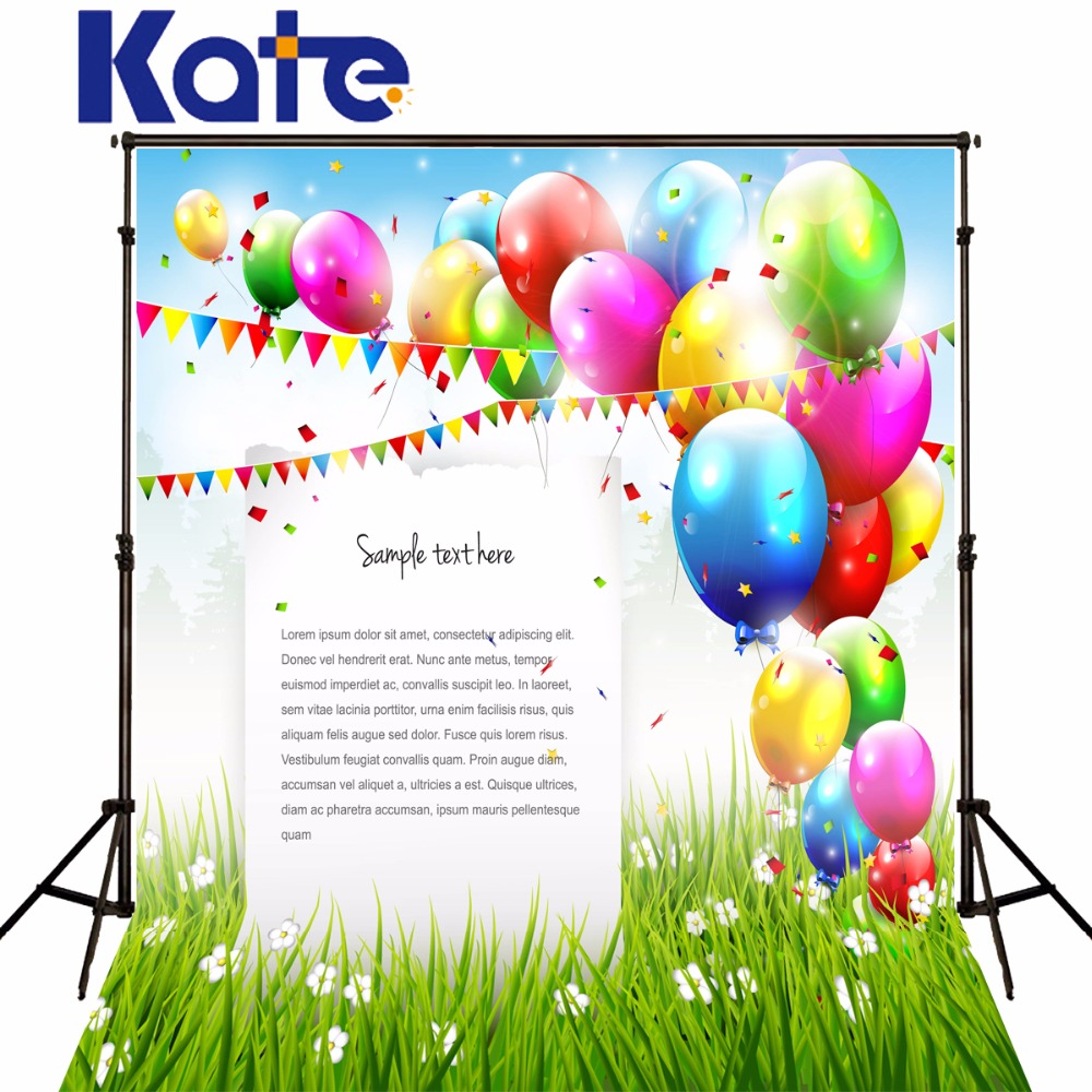 Kate Photography Backdrops Happy Birthday Theme Colorful Balloons Background White Flowers Grass For Children Photo Backdrop<br>