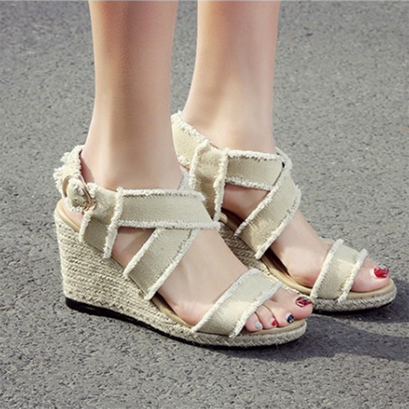 2017 New Summer Wedges Women Sandals Genuine Leather Rome Ankle Platform Women Shoes Canvas Cow Muscle Casual Single Pumps KA15<br><br>Aliexpress
