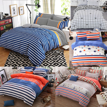 Fashion Blue Striped 4Pc Twin/Full/Queen/King Size Bedding Quilt/Duvet/Doona Cover Set&Sheet Shams White Plaid Red Stars Student