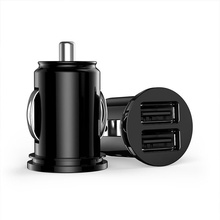 Car Truck Dual Usb Charger Adapter Fast Charging 2 Port USB Mini Charger Adapter for Cell Phone Car Charger Black/White P15(China)