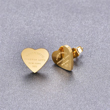Martick Gold- color Heart Earrings For Women Rose Gold-color Heart Stud Earrings With English Letters Fine Jewelry Gift E161(China)