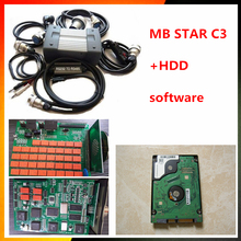 Top-quality mb star c3 full set with cables mb c3 star diagnosis tool by DHL mb star c3 multiplexer + 2015.07 software hdd