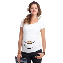 "New Design ""baby peeking out"" Casual Maternity Shirt specialized for prgnant women plus size XXL girls t-shirt(China)"
