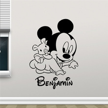 Mickey Mouse Wall Decal Custom Name Cartoons Vinyl Sticker Kids Room Wall Art Design Nursery Wall Sticker