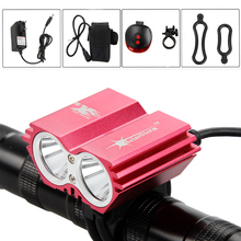 Solar Storm 6000Lm USB 2x XM-L T6 LED Bike Light Lamp Headlight Flashlight Accessories For Bicycle With Rechargeable battery+AC