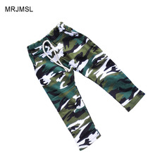 MRJMSL sz90~130 cotton children harem pants for baby boys camouflage trousers kids child casual pants blue green army camo