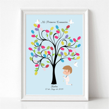 Boy Praying Under The Tree,Free Custom Name Date Canvas Fingerprint Guestbook For Mi Primera Comunion Baby Shower Kids Birthday(China)