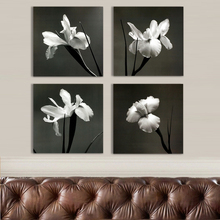 Discount 4pcs Magnolia Flower Oil Painting Printed Painting Oil Painting On Canvas Home Decorative Art Picture(China)