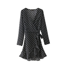 New bird 48-9134 Europe and America fashion wind, black dot crossing, V lead dress W1010(China)