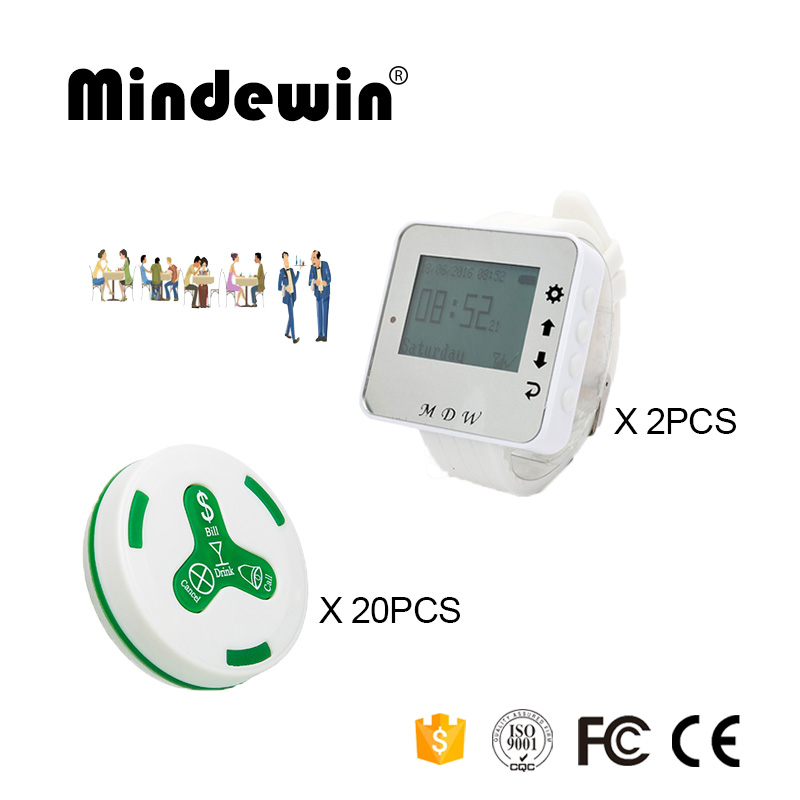 Mindewin 2PCS LED Screen Watch Pager M-W-1 and 20PCS Table Call Button M-K-4 Waiter Call Button Restaurant Server Paging System(China)
