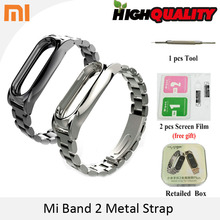 Screwless Metal Wrist Strap For Original Xiaomi Mi band 2 OLED Display Smart Bracelet Wristbands Black Silver(China)
