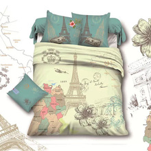 France Retro Style Paris Eiffel Tower Queen Size  Bedding Set Cotton Home Textile Bed Sheet Duvet Cover Sets drap de lit