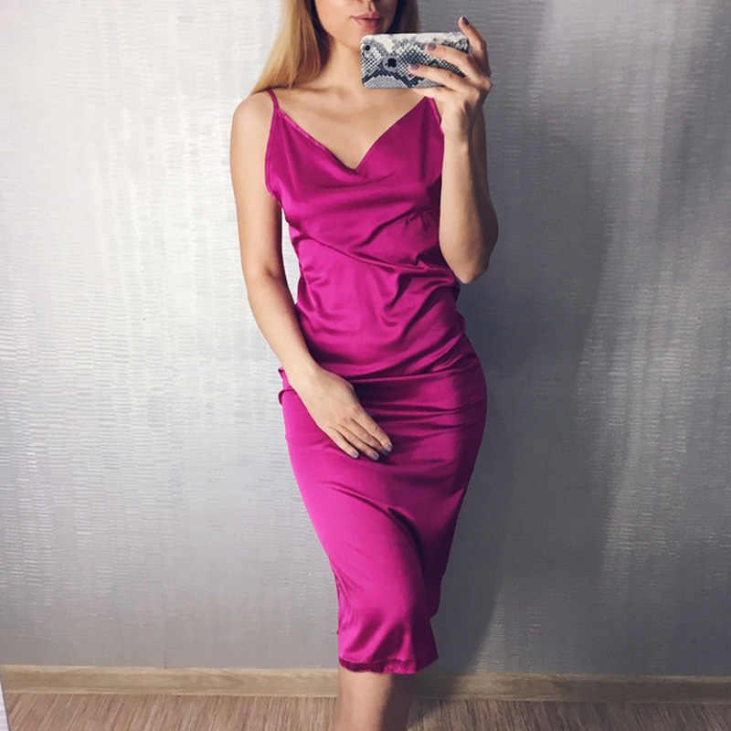 Винтаж ночная рубашка атласная Удобная Ночная сорочка Slip Симпатичные  ночнушки искусственный шелк пижамы дамы платье e6ff7a5a8875f