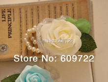 Prom real touch  Pu Handmade Boutonniere Artificial Rose Wedding Church Decor Bride Wrist Corsage Flower Pearl Bracelet  FL1352