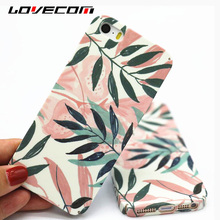 LOVECOM For iPhone 5 5S SE Case Spring Green Leaves Pink Flowers Hard PC Frosted Phone Cases Back Cover For iPhone5S Coque Shell(China)