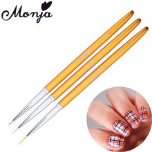 3 Size Nail Art Gold Metal Liner Painting Brush Set Flower Grid Stripe Wide Line Star Geometry DIY French Image Drawing Pen Kit(China)