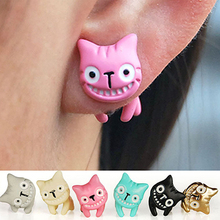 Women's Cute 3D Laugh Cat Kitten Ear Stud Eardrop Earrings Jewelry Gift 1Pc 74UH(China)