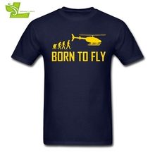 Born To Fly T Shirt Aircraft Guys Latest Tshirts Cool Custom Made T-Shirts Man Summer O Neck Cheap Dad Tees Helicopter(China)