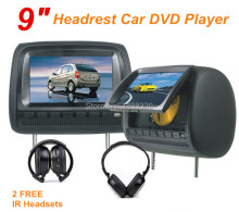 "Black 2pcs 9"" Headrest Monitor Car DVD Player DVD Automotivo + LED Digital Screen GAME Joystick USB SD FM IR"