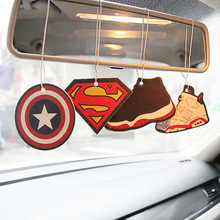 GSPSCN 6pcs Car Perfumed Fragrance Air Hanging Freshener Papers For Hero Captain America Superman Air Freshener Car Perfume