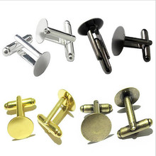 10pc 6/8/10/12mm Round Cufflink Blank Settings Brass Blanks Bezel Base for Cabochon Cameo DIY Clothes Cuff Link Accessories Z394