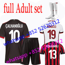 2017 2018 ac Milan set jersey 17 18 Home Away football camisetas Thai AAA shirt survetement football Soccer jersey(China)