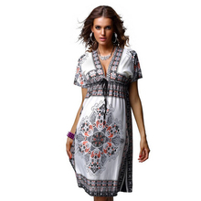 2017 women summer dress short sleeve silk soft deep V-neck print vestidos high waist beach bohemian loose dresses - Singo Yao store
