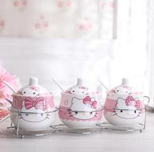 Safe Packing Cartoon Ceramic Hello Kitty Doraemon Sugar Bowl Home Kitchen 3 In 1 Set Salt Condiment Pot Jars With Small Spoon(China)
