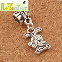 The Easter Bunny Rabbit Carrot Charm Beads 9.8x25.5mm 100pcs Tibetan Silver Fit European Bracelets Jewelry DIY B059(China)