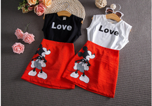 2016 baby Summer Cartoon Mouse Children Girls Clothing set Love Vest Skirt Clothes Suits PCs 2 kids girls wears